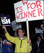 A Bush supporter protests outside of Al Gore's residence in Washington