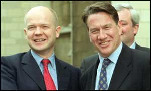 Conservative Party leader William Hague with Michael Portillo