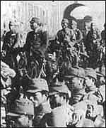 Japanese troops entering Nanjing in 1937
