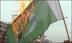 A burning Pakistani flag