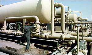 Iraqi oil worker at an installation at West Quma
