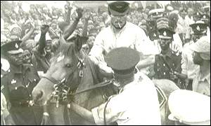 Jerry John Rawlings on horseback