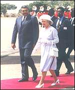 President Rawlings with Queen Elizabeth II