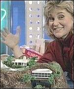 Anthea Turner with model of Tracy Island