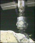 A TV camera on the shuttle Discovery pictured the docked space station in May 1999.