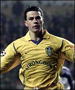 Ian Harte celebrates sealing Leeds' victory form the penalty spot