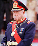 General Pinochet attends a ceremony in 1998