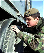 British soldier in Kosovo