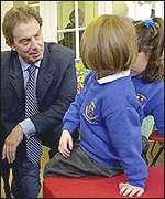 PM Tony Blair visits a school