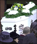 Damilola's coffin is carried into church