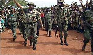 MLC leader, Jean-Pierre Bemba and his soldiers