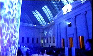 A spectacular light show opened the Great Court