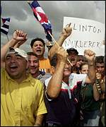 Cuban exiles demonstrating over Elian Gonzales in Miami