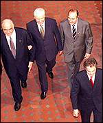 Kohl, Yeltsin, Chirac and Blair at Birmingham summit