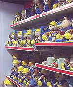 Shelves of toy Bobs