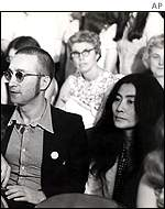 John Lennon and Yoko Ono at the Watergate hearings, 1973