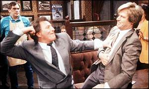 Mike baldwin (Johnny Briggs) and Ken Barlow (Bill Roache) slug it out