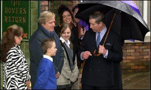 The old and new cast members of the Street share a word with the Prince of Wales