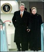 Bill and Hillary Clinton arrive in Ireland in 1995