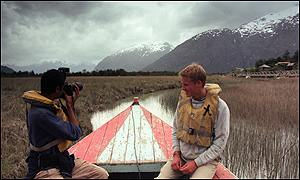 Prince William in the village of Tortel, Southern Chile, during his Raleigh International expedition