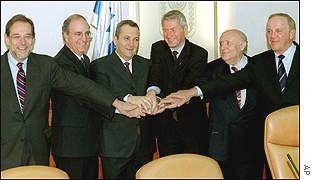 The Mitchell commission and the Israeli prime minister (third left)