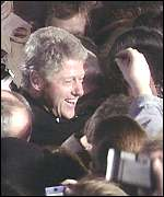 Bill Clinton is mobbed on the streets of Belfast