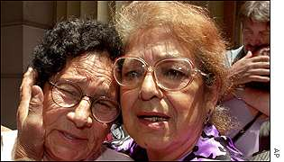 Relatives of Chile's 'disappeared' outside the Appeals Court