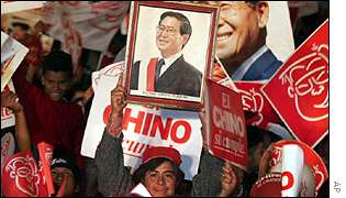 Fujimori supporters at election rally
