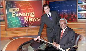 ITV newsreaders Dermot Murnaghan (left) and Sir Trevor Macdonald