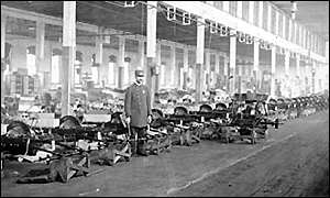 Early days: The first Oldsmobile production line