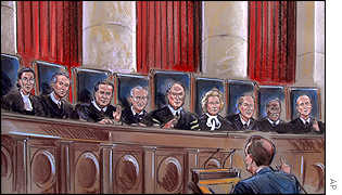 Artist's impression of Ruth Bader Ginsburg, David Souter, Antonin Scalia, John Stevens, William Rehnquist,  Sandra O'Connor, Anthony Kennedy, Clarence Thomas and Stephen Breyer.