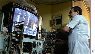 A Soviet-era TV is repaired in Havana