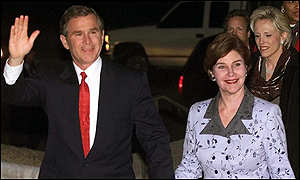 President-elect George W Bush and his wife Laura