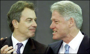 British Prime Minister Tony Blair and outgoing US President Bill Clinton