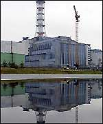 A concrete sarcophagus covers the ruins of the fourth reactor
