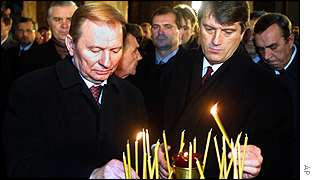 President Kuchma and premier Yushchenko remember the dead