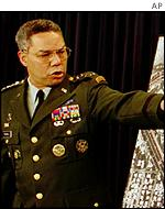 Colin Powel during Joint Chiefs briefing