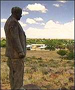 A statue of the architect of apartheid, Hendrik Verwoed.
