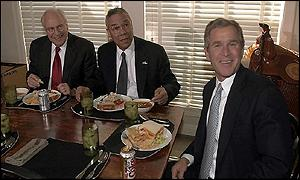 L to R: Vice President-elect Dick Cheney, Colin Powell, GW Bush