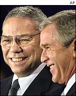Colin Powell and George W Bush
