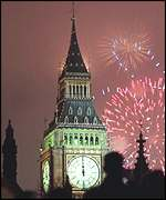 Big Ben at midnight, New Year's Eve