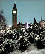 Big Ben and snow