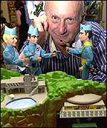 Gerry Anderson, creator of the Thunderbirds, with the Tracy Island toy