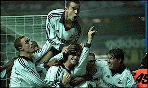 Spurs celebrate Rebrov's first half strike