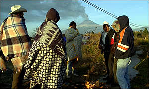 Peasants in front of Popocatepetl