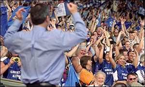 George Burley celebrates with the Ipswich fans