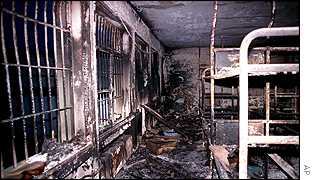 A burnt out ward in Bayrampasa prison in Istanbul