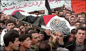 funeral of Palestinian youth in Siir, West Bank