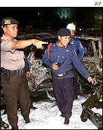 Police at the scene of an explosion in Jakarta