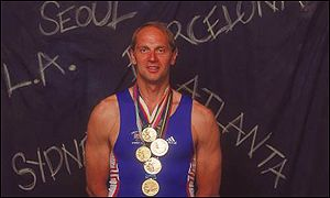 Steve Redgrave with all five medals